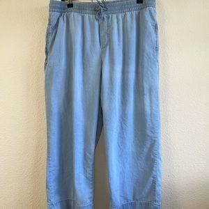 Dip Blue Cropped Drawstring Wide Leg Pants